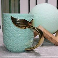 인어 꼬리 세라믹 텀블러 아침 식사 우유 컵 골드 실버 핸들 여행 머그잔 크리 에이 티브 세라믹 컵 찻잔 커피 잔 BH1098 BC