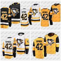 Kasperi Kapanen # 42 Pittsburgh Penguins 2020-21 100% Stitch Cutoms Away Home Preto Branco Amarelo Mens Jersey S-XXXL Compras rápidas
