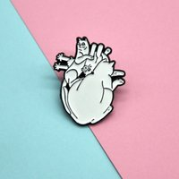 European and American new style cartoon white cute cat heart brooch, fun all-match badge, cowboy bag accessories Clothes accessories Persona