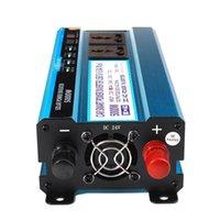 Freeshipping 5000W Sol Power Inverter DC 12V / 24V / 48V till AC 220V Spänningsomvandlare Transformator Dubbelvisning 3 Sockets 4 USB-portar