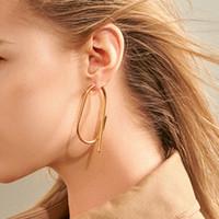 Forma moda minimalista O de plata pendientes de aro de color oro de los pendientes de metal grande sólido geométrico mujeres modernas