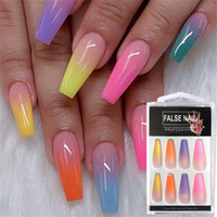 20Pcs Set Rainbow Gradient Nail Tips with Designs Press On N...
