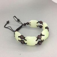 """Ссылка, цепь красивая! Натуральный зеленый и белый """"Кун Lun Yu Square Ellipse Простые щедрые браслеты"""