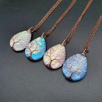 Натуральное каменное ожерелье для женщин в форме мать жемчужной раковины кулон цепи синие розовые зеленые камни ожерелья драгоценные камни женские украшения