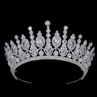 Hadiyana Neue Braut Klassische Couronne De Mariage Kronen Luxus Elliptical Zircon Hochzeit Big Crown für Frauen BC4053 Y200727