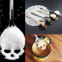 304 Paslanmaz Çelik Şeker Kafatası Kaşık Yaratıcı Çatal Çatal Tatlı Kahve Scoop Gıda Sınıfı Şeker Teaspoon Mutfak Sofra