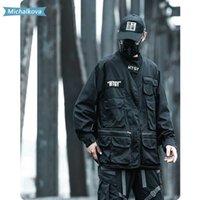 Chaquetas de hombre bolsillo con cuello en V chaqueta táctica fina capa suelta Hip Hop Harajuku Cortavientos Techwear Mujer / Ropa de los hombres Michalkova