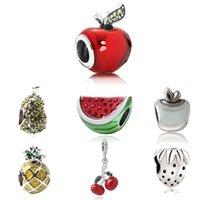 Плодовые амулеты адаптирующих Pandora браслет поделка Вишневые Клубничный шарик браслет ожерелье арбуз ювелирного ананас прелесть для женщин