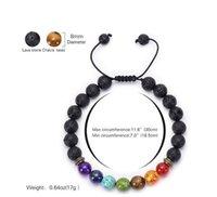 Ajustável Volcanic Lava Pedra Bead 7 Chakra Bracelet Yoga Lava Essencial difusor de óleos trançado pulseiras cura Balance Homens Mulheres