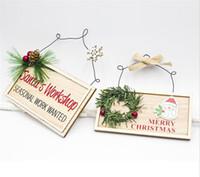 Nouveau fête du Nouvel An Hanging Porte en bois signe d'arbre de Noël Ornement Décoration de Noël pour la maison en bois Pendentif Navidad cadeau