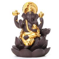 4 Farben Ceramic Ganesha Elefant Gott Buddha Statuen Rückstau Räuchergefäss Home Office Räucherkerzen Freies DHL