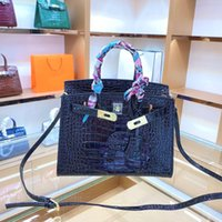 borsa di Crossbody della signora spalla borsa cuoio genuino delle donne del sacchetto di mano Platinum coccodrillo del modello del sacchetto Pony E Sciarpa