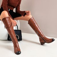 NEW Winter Women Shoes Long Knee- High Boots Round Toe Med Sq...