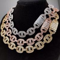 Кубинский Link Chain Iced Out Bling Тяжелое Багет AAA CZ камень цепи кофе в зернах ожерелье браслет Хип-хоп ювелирные изделия для мужчин женщин T200824