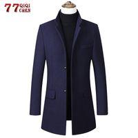 Men's Wool & Blends 2021 Long Coat Men Autumn Winter Casual Slim Fit Windbreaker Jacket Single Breasted Trench Pea Woolen Overcoat