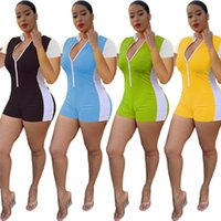 Women panelled sexy overalls summer clothing zipper skinny jumpsuits short sleeve new style rompers shorts S-2XL capris DHL 3160