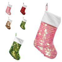 Sequin Christmas Socks Colorful Xmas Socking Decorations Gift Bag For Men and Women Christmas Bag Pendant Sea Shipping IIA542
