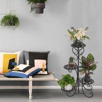 Kapalı açık bahçe için Bitki dekor 4 saksı yuvarlak çiçek metal raflar siyah moda pot bize stok standı