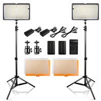 Flash Heads 2 i 1 POGGE 240 LED Studio Lighting Kit Dimmable Ultra High Power Panel Digital Camera DSLR-videokamera med ljusställ