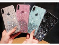 Для Iphone 11 Pro Max XR XS Max X 8 7 6 Plus Glitter Star Starry Soft TPU чехол Bling Shell Cover Clear Прозрачный Мода Роскошь кожи Gel