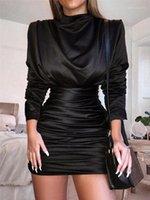 Herbst Womens Designer Hüfte Kleid Turtle Neck Solid Color Printed Plissee figurbetontes Kleid der Frauen 2020 Luxusdesignerkleidung