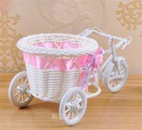 Bianco Triciclo Bike Design cestino del fiore contenitore di immagazzinaggio del partito fai da te Weddding casamento Decoration Supplies Flores Artificiales