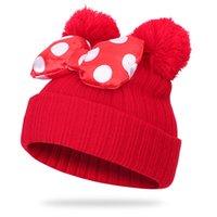 Мальчики и девочка Полосатого Knit Beanie с двойными помпонами шары Симпатичные Боути Прекрасные Мыши Уши Дизайн