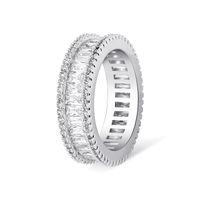 Sıcak Satış Yeni Geliş Lüks Takılar 925 gümüş ve Dolgu Prenses kesim Beyaz Topaz CZ Diamond Kadınlar Düğün Nişan Band Ring