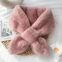 Invierno Mujeres sólido de colores caliente gruesa la piel de imitación collar Cruz cuello abrigo de la bufanda