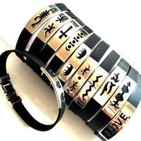 25pcs / lot Mode en caoutchouc souple en acier inoxydable hommes Bracelets 2017 Nouveau bracelets en silicone gros Top style Lots de bijoux mixtes