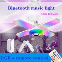 원격 제어와 RGB 블루투스 음악 라이트 50W E27 LED 전구, LED 주차장 변형 가능한 전구 램프, 접이식 전구 스마트 스피커 팬 라이트