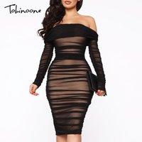 Tobinoone Double-Layer-Mesh-reizvolle Partei-Kleid weg von der Schulter-eleganten Frauen-Kleid mit Rüschen besetzt, Frühling, Sommer Bodycon Kleider kurz 200928