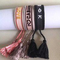Beaux bijoux de printemps Charme Bracelets d'amitié Ensemble en tissu de coton naturel et métaux simples