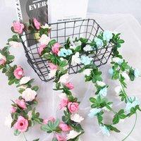 Декоративные цветы венки 2,4 м Silk искусственные розовые виноградные лозы гирлянды плюща висит свадебный стул арки декор цветок ротанга дома сад