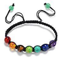 Heißen Verkauf-modisches handgewebt 7 Chakra Armbänder für Männer Frauen Strass Reiki Gebet Steine Healing Gleichgewicht Perlen-Armband
