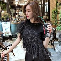 Kadın T-shirt Neploe O Boyun Payetli Örgü Patchwork Siyah T Gömlek Kadın Yaz 2021 Kazak Kısa Kollu Gevşek Tees Düzensiz Top 49692