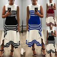 Dresses Spring Casual Asymmetrical Sexy Female Dresses Summer Striped Womens Dresses O-neck Sleeveless Loose Mid Waist Ladies