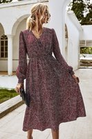 Autumn Women Dress Elegant Lone Sleeve V-neck Casual A-Line Midi Dress Vintage Striped Sashes Lace-up For Femme Party Dresses 203041