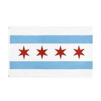 Chicago Flag Kostenlose Lieferung direkt ab Werk Großhandel 3x5Fts 90x150cm Windy City USA Zustand Banner Mischauftrag Dekoration für das Hängen