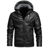 Chaqueta para hombre de la motocicleta del invierno al aire libre casual para hombre de manga larga Multi-cremallera PU chaqueta con capucha