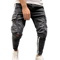 Jeans Pantalons Casual Male 2020 Automne Ripped Slim Sweatpants Sexy trou outwears Pantalons Pantalons pour homme