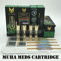 Novità Packaging Muha cartuccia Meds live resina Vape Carrelli 0.8ml Oro Serbatoio olio di ceramica di spessore della bobina Svuotare Atomizzatore per 510 Preriscaldare batteria
