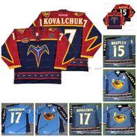 Atlanta Thrashers 5th Anniversary Jerseys # 17 Ilya Kovalchuk 2003 # 15 Dany Heatley # 16 Buchberger # 97 Jogador 2003 Vintage Hockey Jerseys