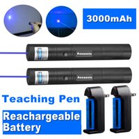 2PACK 301 Powerful Blue Violet Laser Pen Pointer 405nm Beam Light Blue Violet Teaching Focus Laser Pen+ 18650 Battery + Charger