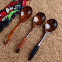 Colheres de madeira Grande Cabo longo Colher Crianças colher de pau arroz Sopa Sobremesa Bamboo Kitchen Utensílio Ferramenta loiça plásticas 17 centímetros