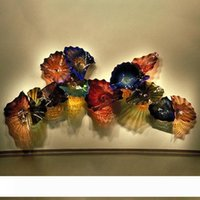 Роскошные настенные светильники Большой муранского стекла цветок Plater Декоративные искусства стены выдувного стекла руки Планшеты Турция Дизайн Цветные светодиодные настенные Бра