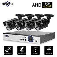 Sistemas HISEEU CCTV Sistema de câmera 4 pcs 4MP à prova de intempéries à prova de intempéries 8CH DVR dia / noite Kit de vigilância de vídeo DIY