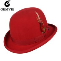 GEMVIE feutre 100% laine plume Derby Bowler Hat pour les hommes / femmes satin Bordée Fashion Party Magicien officiel Fedora Costume Cap CX200819