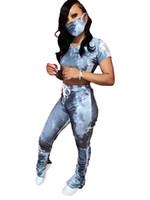 Mulheres Tie Dye Stacked Treino Com Máscara V-pescoço curto manga curta T-shirt de Slim empilhados terno de calças Ladies 2pcs roupa