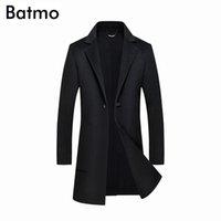 Мужская шерстяная смесь Batmo 2021 Прибытие Зима Высокое Качество Двойная сторона Повседневная Черная траншея Пальто мужчин, Мужские длинные 85839
